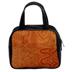 Burnt Amber Orange Brown Abstract Classic Handbags (2 Sides)