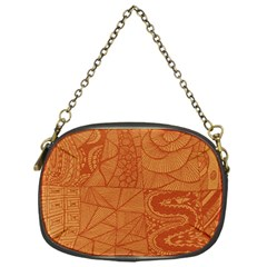 Burnt Amber Orange Brown Abstract Chain Purses (one Side)
