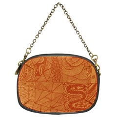 Burnt Amber Orange Brown Abstract Chain Purses (two Sides)