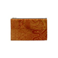 Burnt Amber Orange Brown Abstract Cosmetic Bag (small)