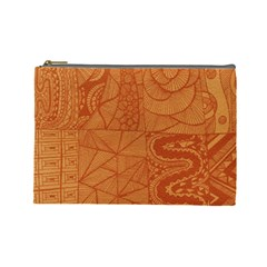 Burnt Amber Orange Brown Abstract Cosmetic Bag (large)