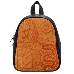 Burnt Amber Orange Brown Abstract School Bags (small)