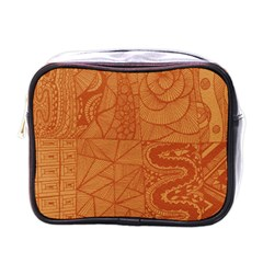 Burnt Amber Orange Brown Abstract Mini Toiletries Bags