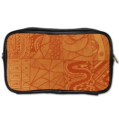 Burnt Amber Orange Brown Abstract Toiletries Bags 2 Side
