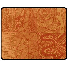Burnt Amber Orange Brown Abstract Fleece Blanket (medium)