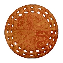 Burnt Amber Orange Brown Abstract Round Filigree Ornament (2side)