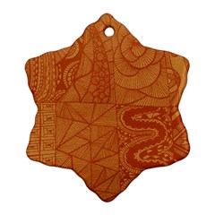 Burnt Amber Orange Brown Abstract Snowflake Ornament (2 Side)