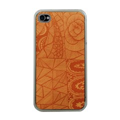 Burnt Amber Orange Brown Abstract Apple Iphone 4 Case (clear)