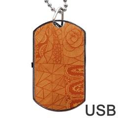 Burnt Amber Orange Brown Abstract Dog Tag Usb Flash (two Sides)