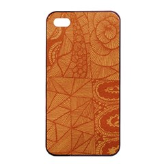 Burnt Amber Orange Brown Abstract Apple Iphone 4/4s Seamless Case (black)