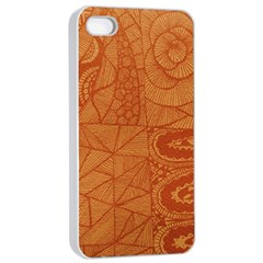 Burnt Amber Orange Brown Abstract Apple Iphone 4/4s Seamless Case (white)