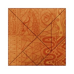 Burnt Amber Orange Brown Abstract Acrylic Tangram Puzzle (6  X 6 )