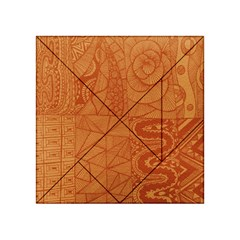 Burnt Amber Orange Brown Abstract Acrylic Tangram Puzzle (4  X 4 )