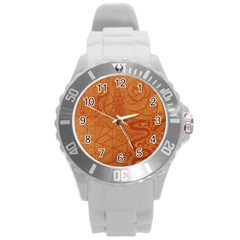 Burnt Amber Orange Brown Abstract Round Plastic Sport Watch (l)