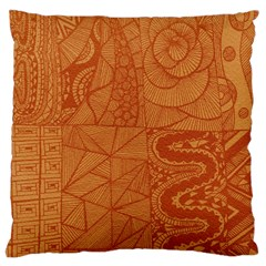 Burnt Amber Orange Brown Abstract Large Cushion Case (one Side)