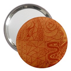 Burnt Amber Orange Brown Abstract 3  Handbag Mirrors