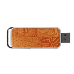 Burnt Amber Orange Brown Abstract Portable Usb Flash (one Side)