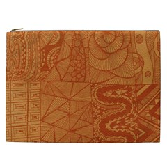 Burnt Amber Orange Brown Abstract Cosmetic Bag (xxl)