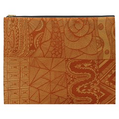 Burnt Amber Orange Brown Abstract Cosmetic Bag (xxxl)