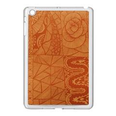 Burnt Amber Orange Brown Abstract Apple Ipad Mini Case (white)