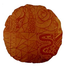 Burnt Amber Orange Brown Abstract Large 18  Premium Round Cushions