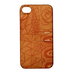 Burnt Amber Orange Brown Abstract Apple Iphone 4/4s Hardshell Case With Stand