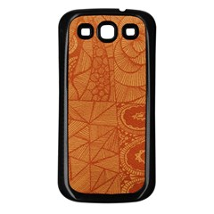 Burnt Amber Orange Brown Abstract Samsung Galaxy S3 Back Case (black)