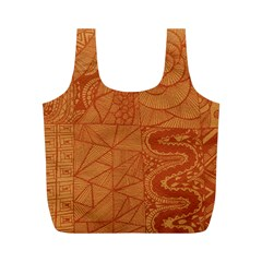 Burnt Amber Orange Brown Abstract Full Print Recycle Bags (m)