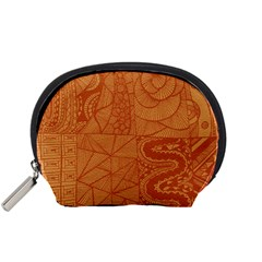 Burnt Amber Orange Brown Abstract Accessory Pouches (small)