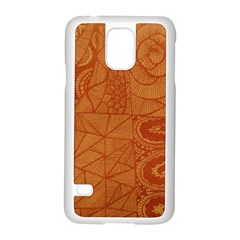 Burnt Amber Orange Brown Abstract Samsung Galaxy S5 Case (white)