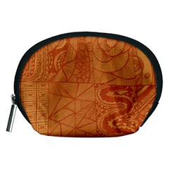 Burnt Amber Orange Brown Abstract Accessory Pouches (medium)