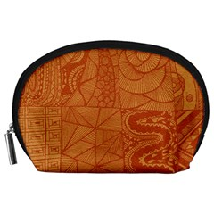 Burnt Amber Orange Brown Abstract Accessory Pouches (large)