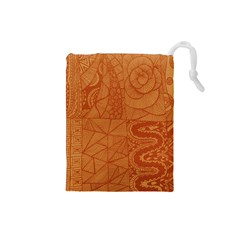 Burnt Amber Orange Brown Abstract Drawstring Pouches (small)