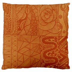 Burnt Amber Orange Brown Abstract Large Flano Cushion Case (one Side)