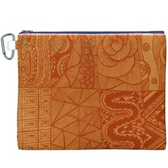 Burnt Amber Orange Brown Abstract Canvas Cosmetic Bag (xxxl)
