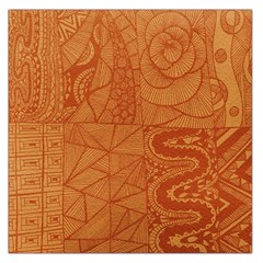 Burnt Amber Orange Brown Abstract Large Satin Scarf (square)