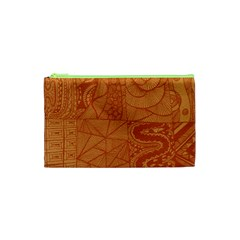 Burnt Amber Orange Brown Abstract Cosmetic Bag (xs)