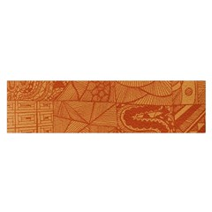 Burnt Amber Orange Brown Abstract Satin Scarf (oblong)