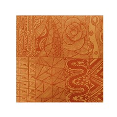 Burnt Amber Orange Brown Abstract Small Satin Scarf (square)