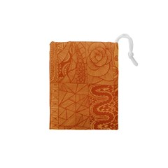 Burnt Amber Orange Brown Abstract Drawstring Pouches (xs)