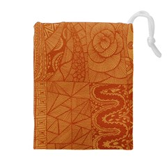 Burnt Amber Orange Brown Abstract Drawstring Pouches (extra Large)