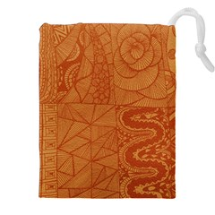 Burnt Amber Orange Brown Abstract Drawstring Pouches (XXL)
