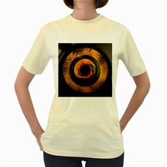 Fractal Mathematics Abstract Women s Yellow T Shirt
