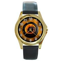 Fractal Mathematics Abstract Round Gold Metal Watch