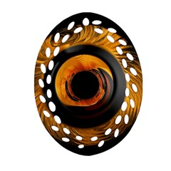 Fractal Mathematics Abstract Oval Filigree Ornament (2 Side)