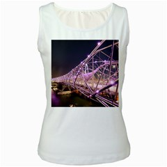 Helixbridge Bridge Lights Night Women s White Tank Top