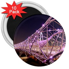 Helixbridge Bridge Lights Night 3  Magnets (10 Pack)