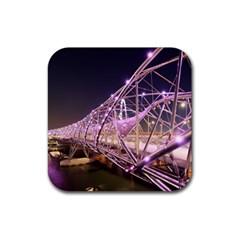 Helixbridge Bridge Lights Night Rubber Square Coaster (4 Pack)