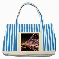 Helixbridge Bridge Lights Night Striped Blue Tote Bag