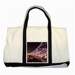 Helixbridge Bridge Lights Night Two Tone Tote Bag